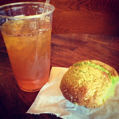 Iced Green Tea & Pistachio Muffin