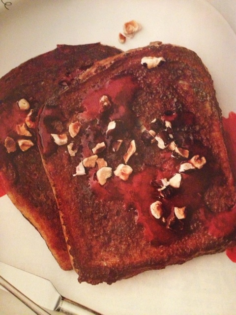 Chocolate Hazelnut French Toast with Raspberry Syrup