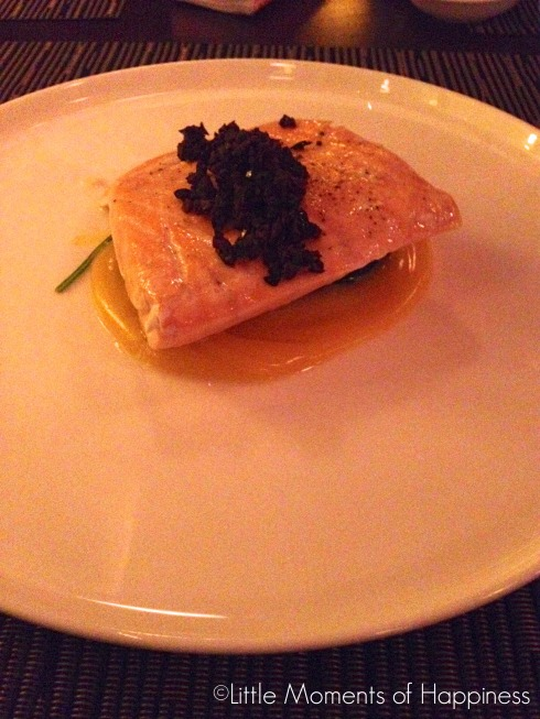 Slowly Cooked Salmon, with Passion Fruit-Olive Oil Emulsion, Spinach, Black Olive at Nougatine Shanghai