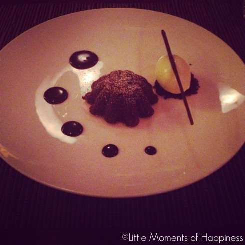 Jean-Georges Chocolate Cake with Vanilla Ice Cream at Nougatine Shanghai