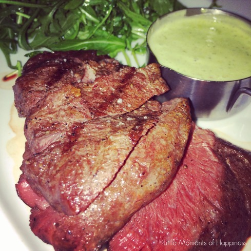 Flat Iron Steak with Chimichurri Butter at Boston Chops